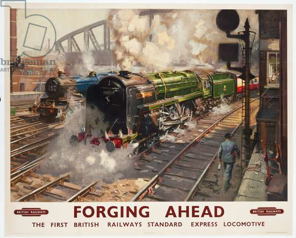 Forging Ahead, The First British Railways Standard Express Locomotive, 1950 (colour lithograph)