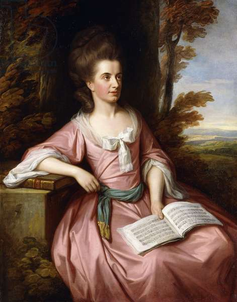 Portrait of Martha Ray (c.1745-1779), seated three-quarter-length, in a Pink Dress with a Blue Sash, holding a Musical Score, in a Landscape, 1777 (oil on canvas)