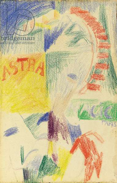 L'Équipe de Cardiff, 1913 (wax crayons on paper laid down on board)