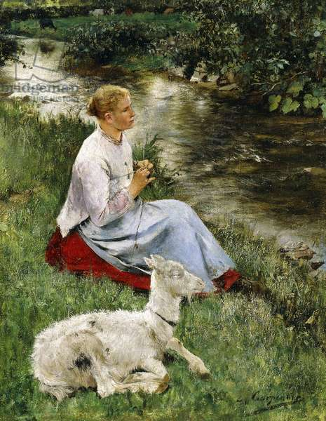 The Young Shepherdess,  (oil on canvas)