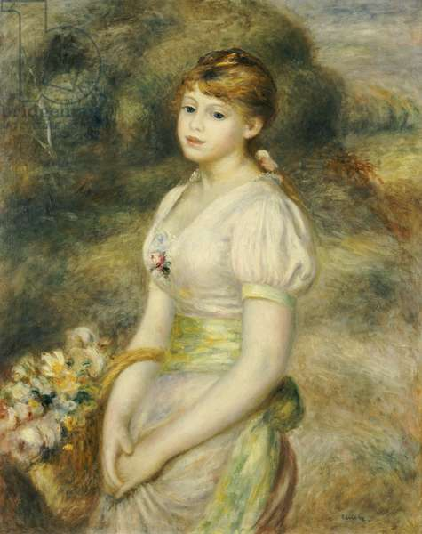 Young Girl with a Basket of Flowers (oil on canvas)