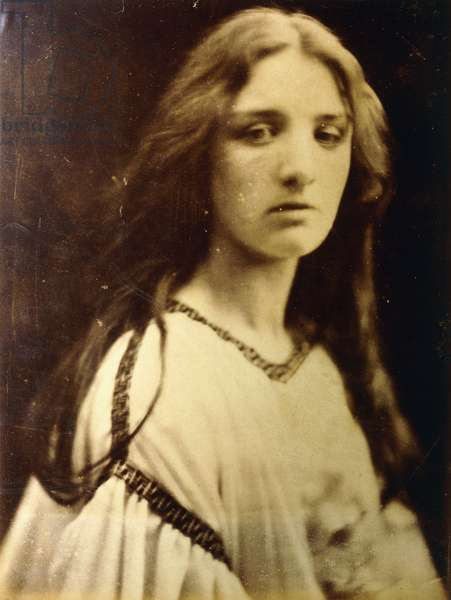 Mary the Betrothed, Mary Ryan, July 1867 (albumen print, mounted on card, ruled gilt border)