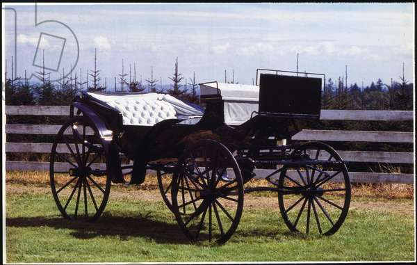 Horse drawn carriage used in 'The Wizard of Oz', The Barouche, Civil War Era (wood, leather, metal & upholstery)