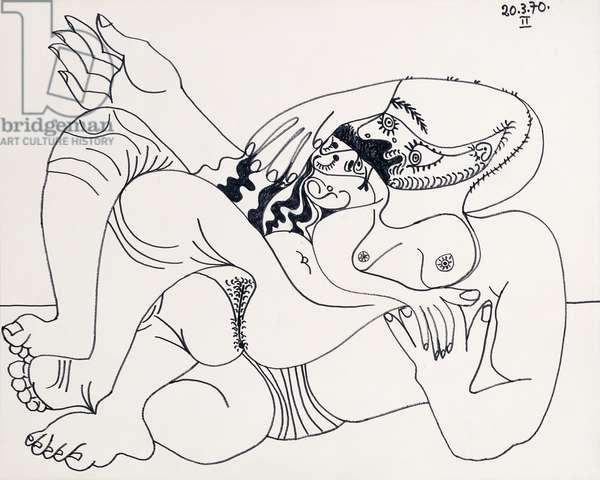The Embrace; L'Etreinte (verso), 1970 (black felt tip pen on paper)
