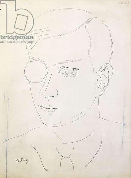 Portrait of Tristan Tzara; Portrait de Tristan Tzara, (pen and black ink and blue crayon on paper)