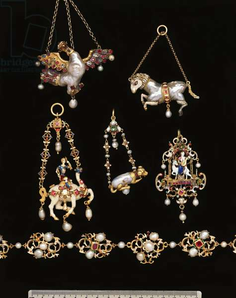 A selection of jewelled gold, enamel and pearl Renaissance jewellery (gold, enamel, pearl)