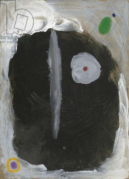 Head and Bird; Tete et Oiseau, 1960 (oil on cardboard)