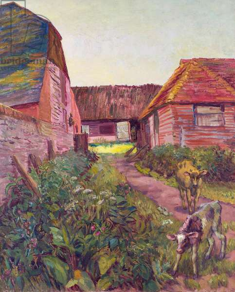 The Farmyard at Charleston (oil on canvas)