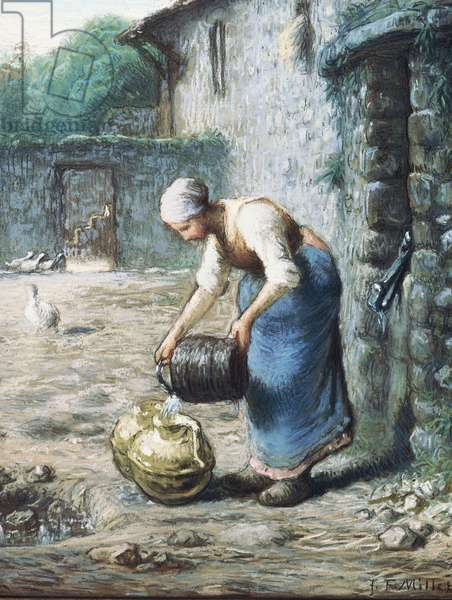The Woman at the Well, c.1866 (black chalk & pastel on paper laid down on canvas)