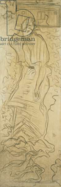 Woman with Ducks; La Femme aux Canards,  (charcoal and watercolour on canvas)
