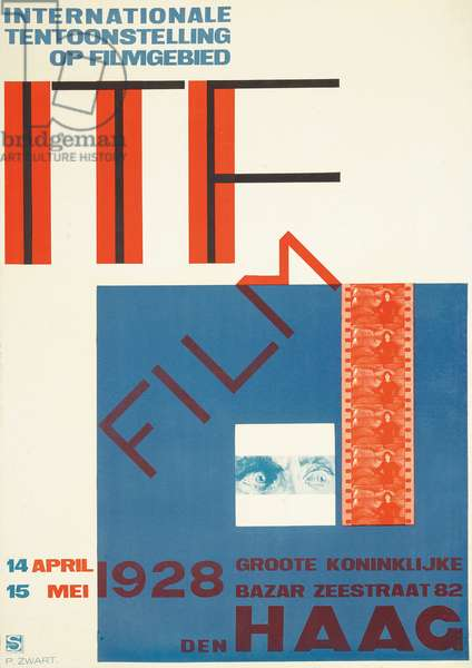 Poster advertising the 1928 International Film Festival in the Hague, 1928 (colour litho)