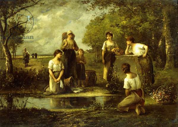 The Laundresses,  (oil on panel)