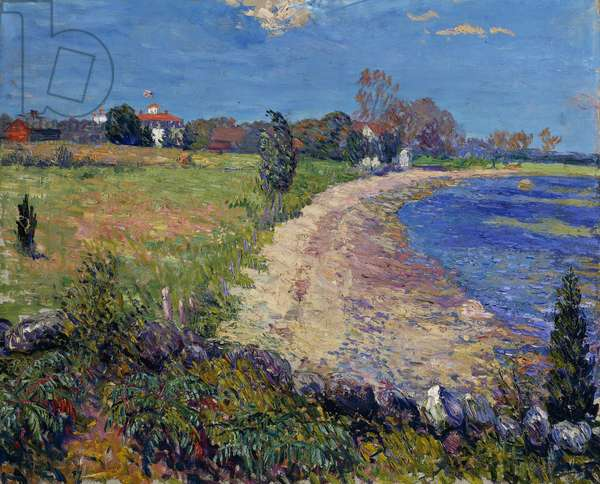 Curving Beach, New England, (oil on canvas)