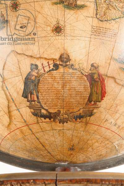 Large pair of library globes, the terrestrial 1645/48, the celestial after c.1630 (plaster, wood & engraved paper)