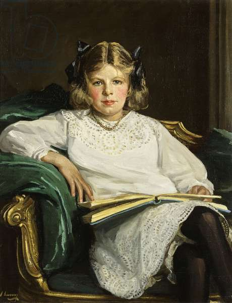 Portrait of Betty, three-quarter length seated, reading a Book, 1915 (oil on canvas)