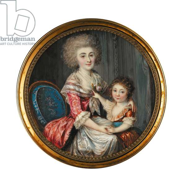 A young lady called Madame de Genlis, embracing her young son (w/c on ivory)