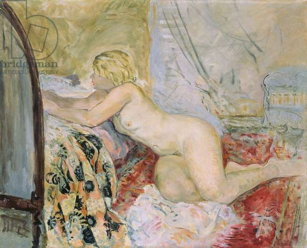 Nude Lying Against a Bed,  (oil on canvas)