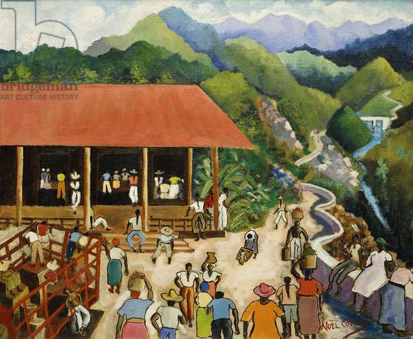 A Village in the Hills, Jamaica, (oil on canvas)