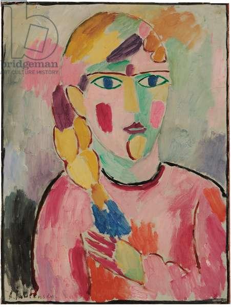 Girl with Blue Eyes and a Ponytail; Madchen mit Blauen Augen und einem Zopf, c.1916 (oil on linen-finished paper laid down on board)