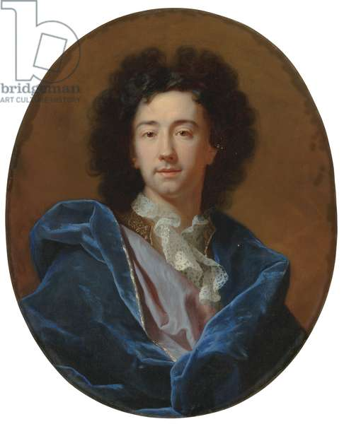 Portrait of the artist, bust-length, in a lace cravat and blue cloak (oil on canvas)