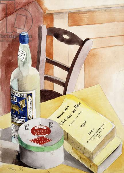 Still Life with Bottles and Books; Nature Morte a la Bouteilles aux Livres, 1917 (watercolour and pencil on paper)
