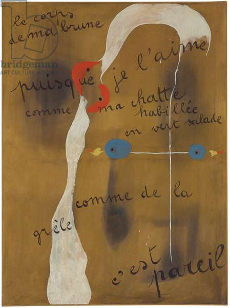 Painting-Poem (le corps de ma brune puisque je l'aime comme ma chatte habillee en vert salade comme de la grele c'est pareil), 1925 (oil on canvas)
