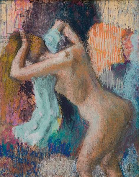 After the Bath, Woman Drying Herself; Apres le bain, femme s'essuyant, c.1890-1895 (pastel on paper)