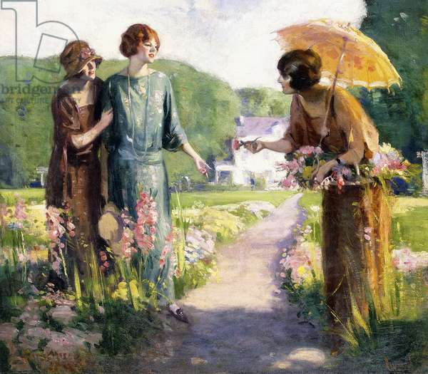 Picking Flowers,  (oil on canvas)