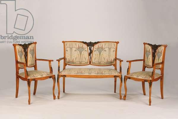 Salon suite (partly bronzed fruitwood & textile)