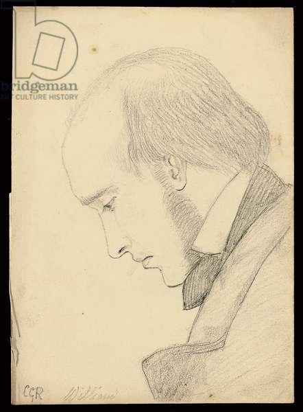 Portrait of William Michael Rossetti (pencil on paper)