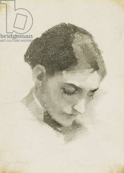 A Head of a Woman, (pencil and wash)