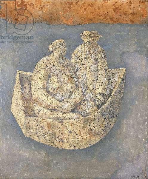 Couple in a Ship; Couple en Bateau, 1963 (tempera and sand on masonite)