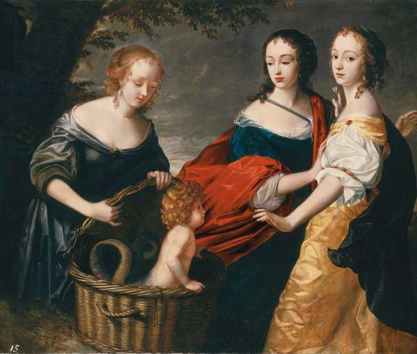 Allegorical portrait of three ladies and a child as The Finding of Erichthonius (oil on canvas)