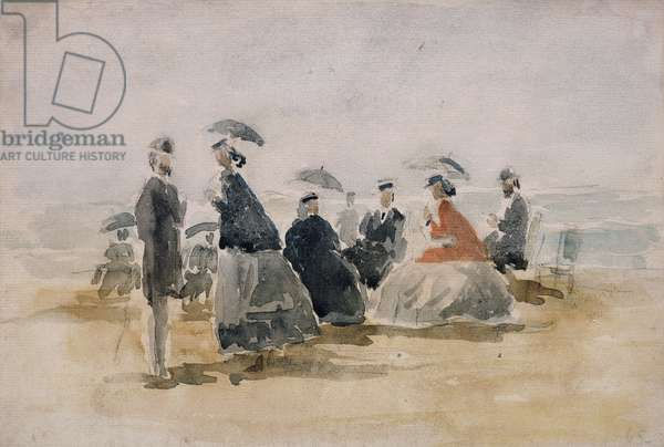 Les Crinolines, 1865 (watercolour and pencil on paper laid on card)