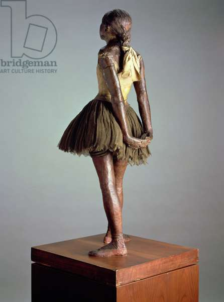 Little Dancer, Aged 14, viewed from the back (polychrome bronze, satin ribbon & wood) (see also 100777)