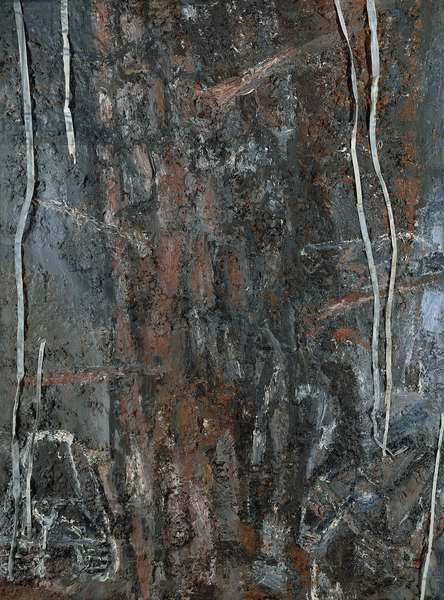 Tree with Panzer Tank, 1977 (oil & lead on canvas)