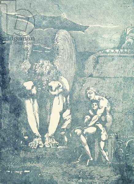 On Albion's Angels, mid 1790s (elief-etched engraving, blue ink)