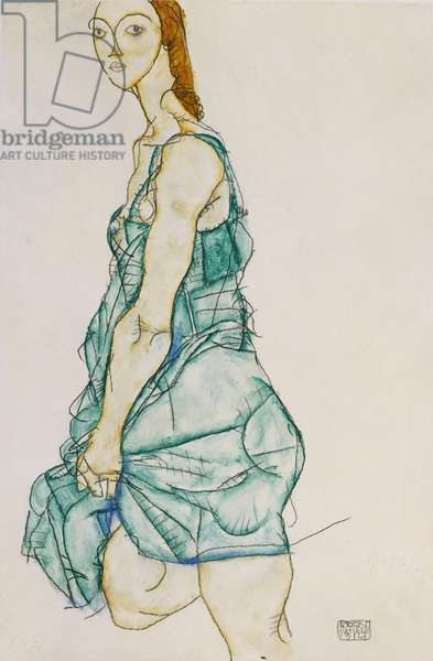 Upright Standing Woman, 1912 (gouache & pencil on buff paper)