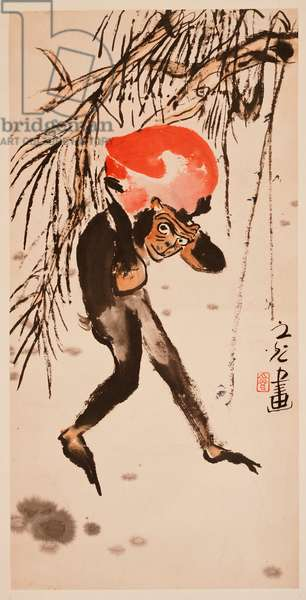 Monkey Carrying the Peach of Longevity (hanging scroll, ink and colour on paper)