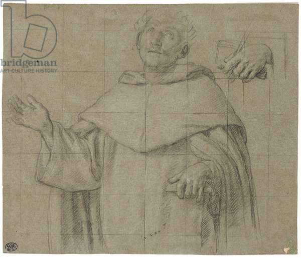 A Dominican saint, perhaps Saint Peter Martyr, half-length, holding a book (chalk on paper)