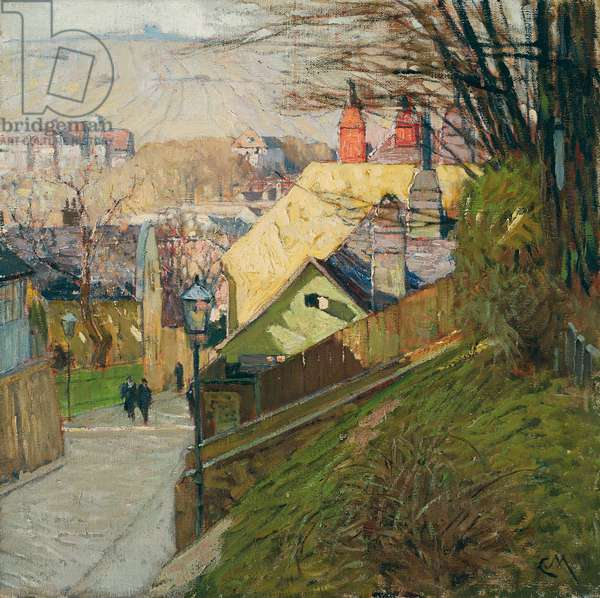 The House of Therese Krones in Dobling in Vienna, c.1912-1914 (oil on canvas)