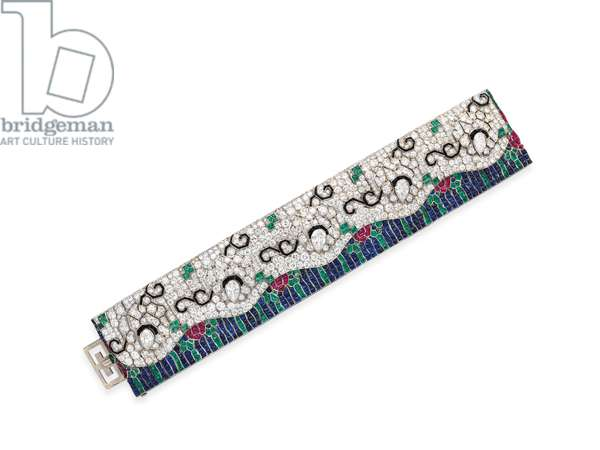 Art Deco 'Wave' bracelet, c.1925 (diamonds, onyx, emeralds, rubies, sapphires & platinum)