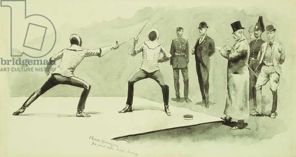 Fencing at Dickel's Academy,  (brush and black ink and pencil on board)