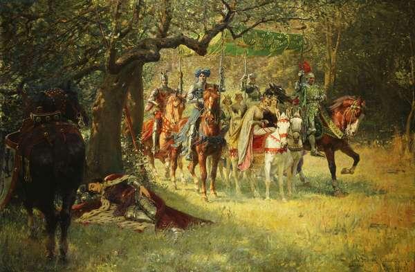 How Four Queens Found Sir Lancelot Sleeping, 1908 (oil on canvas)