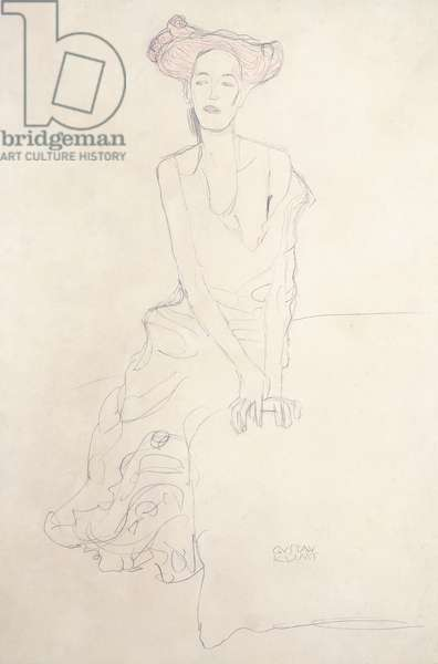 Aug Ruhubeit the Young Woman, supporting herself with her Hands, 1908 (red and lead pencils on paper)