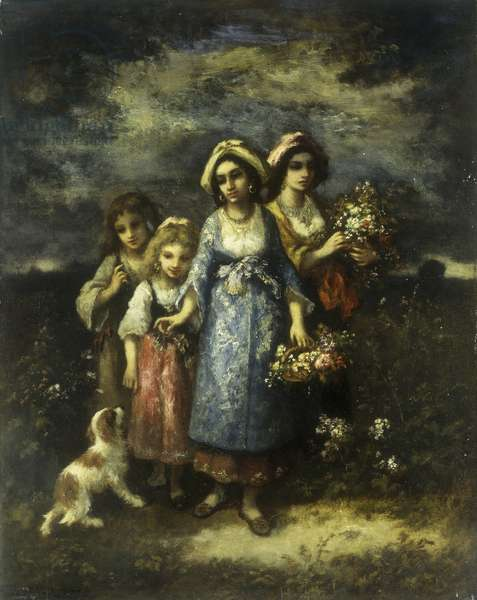 The Flower Gatherers, 1873 (oil on panel)