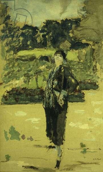 The Black Dress; La Robe Noire, 1920 (peinture a la colle and charcoal on buff paper laid on canvas)