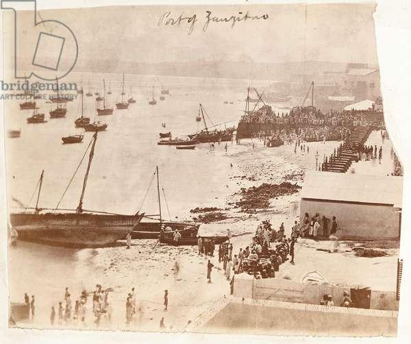 Port of Zanzibar, from an album belonging to Henry Morton Stanley (b/w photo)