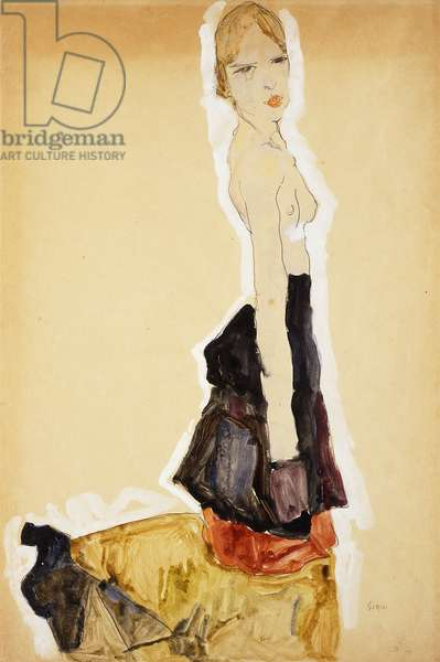 Kneeling Girl with Spanish Skirt; Knieendes Madchenmit Spanischem Rock, 1911 (gouach, watercolour and pencil on paper)