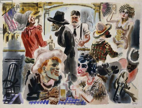 Western Saloon: 'Old Fashioned Bar', 1932 (watercolour on paper)